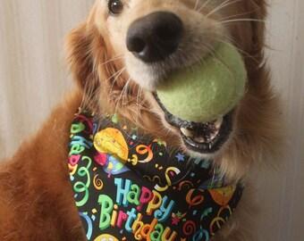 Happy Birthday Dog over the collar Bandana, dog birthday Scarf, happy birthday