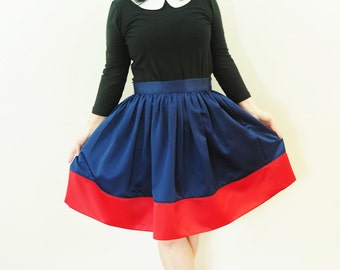 Navy and Red Satin Colorblock Anne Skirt full gathered skirt classic retro and vintage 50's and 60's style also in plus size Custom made