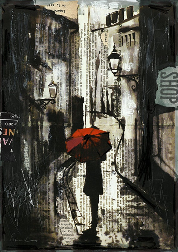 Print art canvas best gift collage ink drawing sketch old city street Painting Illustration girl Umbrella signed Emanuel Ologeanu home decor