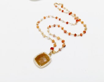 Mexican Opal Beaded Chain and Bezelled Yellow Sapphires and White Topaz Pave Stones Pendant Necklace