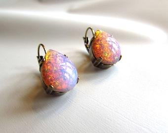 Glass Opal Teardrop Earrings, Fire Opal Dangle Earring, Pink Opal Jewelry, Faux Opal, Opal Pear Earrings, Wedding Jewelry, Opal Bridesmaid