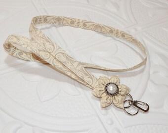 Lanyard - Fabric Lanyard - Teacher Lanyard - Key Lanyard - Id Badge Holder - Lanyard With Flower