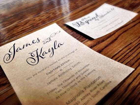 Country Chic Kraft Wedding Invitation / Rustic Wedding Invitation