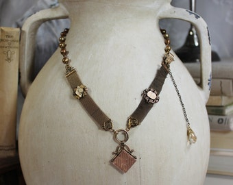 Legacy- Watch Fob Pearl Necklace- Gold Filled Antique Fobs and Crystal- Bronze Freshwater Pearls- Vintage Assemblage- One of a Kind- Legacy