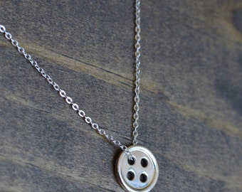 Button Necklace - 925 Sterling Silver Dainty Lovely Creative Fun