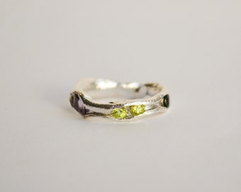 Peridote, ameythyst & black zc sterling silver organic ring