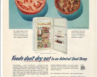 1952 advertisement admiral dual temp refridgerator 50s kitchen tomatoes housewife appliances fridge freezer wall art admiral appliances   etsy  rh   etsy com