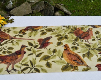 Autumn Fall Table Runner . Vintage Bird Fabric .  Rustic  Table Runner . Rustic Home Decor . Fall Autumn Runner . Handmade by SeamsOriginal