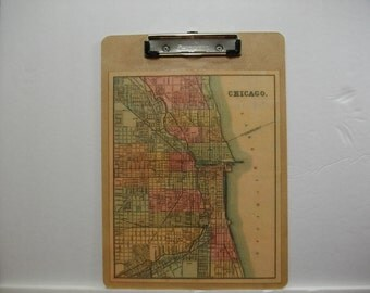 Map Clipboard / Chicago IL Vintage Map Clipboard / School or Office Map Clipboard