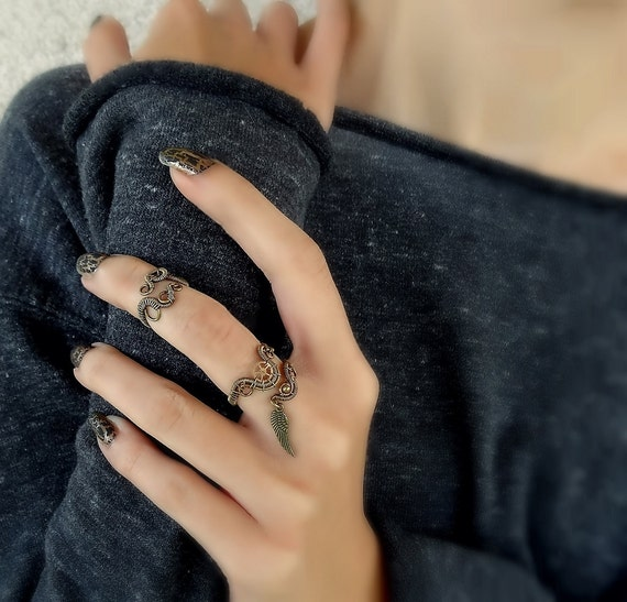 Mid Finger Ring Gothic Midi Rings Brass Knuckles Wire