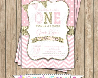 One First Birthday girl coral pink gold PRINTABLE Invitation #1 chevron polka dot glitter 1st birthday - 1030