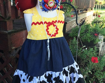 Custom Made Inspired Jessie Toy Story Birthday outfit Costume Dress Only 12m 18M 24M 2T 3T 4 5 6 7 8 10 12