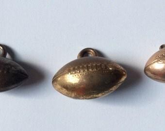 Vintage Brass Football Charm Lot Qty - 3