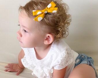 Mustard Dot Tied Bow - Mustard School Girl Bow - Hand Tied Bow - Mustard Small Bow Tied Hair Bow - Mustard Nylon Elastic Headband Bow Clip