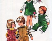 1970s Toddler's Jumper Dress Overalls & Blouse Pattern Simplicity 5992 Child's Vintage Sewing Pattern A Line Dress and Dungarees Size 3