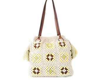 Cream crochet bag with tassels, real leather handles, shoulder handbag, boho crochet bag, crochet handbag, genuine leather straps, knit bag