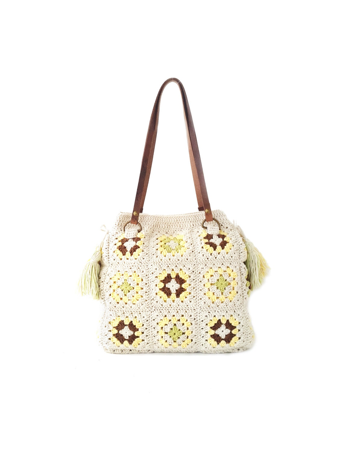 Cream crochet bag with tassels real leather handles by zolayka