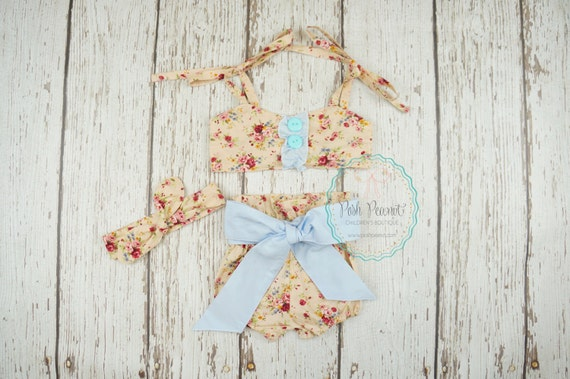 Items similar to baby girl clothing shabby chic outfit floral playsuit baby girl outfit - Shabby chic outfit ideas ...