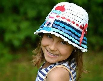 Crochet pattern - crochet hat with lighthouse appliqué by Vendulkam, digital pattern, 4 sizes, DIY, pdf