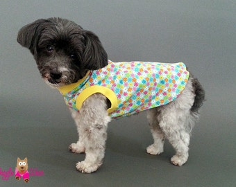 Sleeveless Dog T shirt, Dog Tank Top, Turquoise with Small Multi-colored Flowers