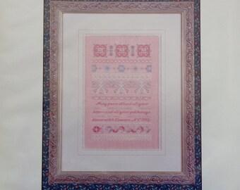 Cross Stitch Pattern ROSE HEARTS SAMPLER By Just Nan
