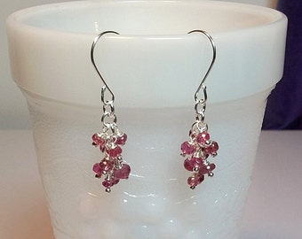 Tiny Pink Tourmaline Cluster Drop Earrings, Christmas Mothers Day Gift, Mom Sister Bridesmaid Jewelry, Gemstone Birthstone, Silver