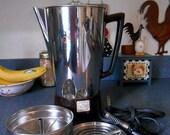 Rare Mid Century Presto Coffee Percolator with Brown Bakelite Base and Handle, Submersible Coffee Pot