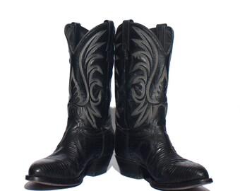9.5 EE | Men's J. Chisholm Dark Black Lizard Cowboy Boots