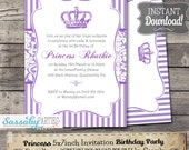 Princess Purple Party Invitation - INSTANT DOWNLOAD - Editable & Printable Birthday Invitation by Sassaby