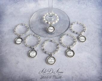 6 Custom Personalized Wedding Wine Charms