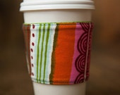 Reversible Coffee Tea Cozy Sleeve, Thermally Insulated - Folklorico by Alexander Henry