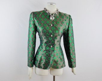 Vintage GIVENCHY BOUTIQUE OPULENT Evening Jacket Moroccan Print Jewel Tone Metallic Tuxedo Jacket Size Small