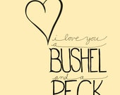 INSTANT DOWNLOAD - i love you a bushel and a peck - 8x10 Illustrated Print by Mandy England