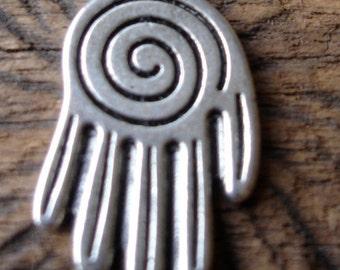 Moroccan Hand  hamsa khamsa bead with spiral