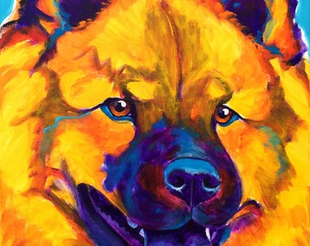 Chow Chow, Pet Portrait, DawgArt, Dog Art, Chow Chow Art, Original Painting, Pet Portrait Art, Colorful Dog Art, Chow Chow Painting