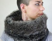 Rabbit faux fur lined cowl, fur infinity scarf, Snock® in charcoal grey wool