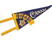 vintage pennant, Canada,1946, souvenir, retro, blue, felt, gold, maple leaf, wall hanging, wall decor, wall art, vintage sign