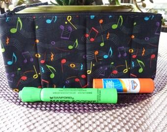 Handcrafted Music Notes Zipper Pencil Case/ Pouch/Gadget Bag