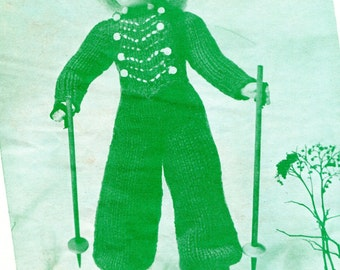 1940's Mary's Dollies Knitted Ski Jumpsuit &  Hat 18 inch Doll PDF Pattern Instant Download