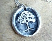 Wax seal necklace tree with hidden heart made from recycled fine silver, made to order for Valentine's day