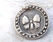 Butterfly wax seal necklace jewelry pendant charm handmade from recycled fine silver on Etsy