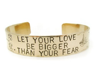 Gold Bracelet - Hand Stamped - cuff - bangle - wide metal braclet - brass cuff -  metal jewelry - love over fear - quote, handmade jewelry