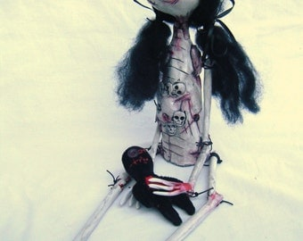 Ooak Hand Made Gothic Button Eyed Art Doll - Polly
