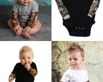 Temporary Tattoo sleeve shirt - Flash Tattoo - Tattoo Romper - Funny Baby Gift - Cool Baby Shirt - Tattoo Onesie