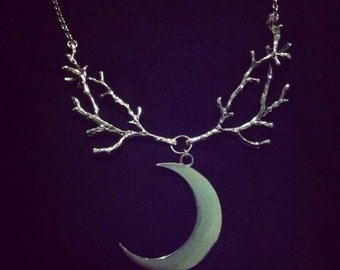 Crescent Moon Through Branches Necklace