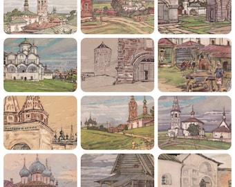 "M. Matorin ""Suzdal"". Complete Set of 12 Vintage Postcards in original cover -- 1969"