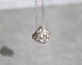 Small Silver Tangled Knot Necklace