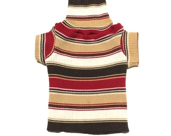 Designer Dog Sweater, X Small Red and Brown Ribbed Striped Turtleneck Pet Puppy Apparel, Boy and Girl Dog Clothes