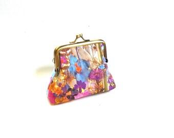 Blue purple purse, pressed flower, floral clutch botanical purse, woodland purse, garden lover gift, violet nature purse, nature lover gift