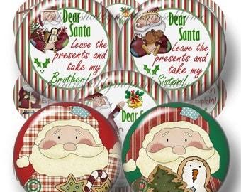 Christmas, Bottle Cap Images, Dear Santa, 1 Inch Circle, Santa Images, 2 Digital Collage Sheets,  (no.1)